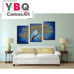 Wall Art Sets Gold Flower Tree Hang Above Tv Cabinet Update Style